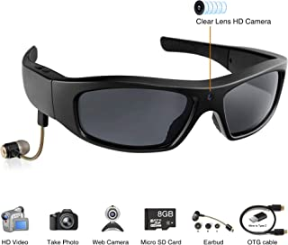 Wearable Sport Camera Glasses with Wireless Headset Video Sunglasses HD Video Glasses for Android Smartphone TR90 Glasses Frame with Polarized UV400 Lenses