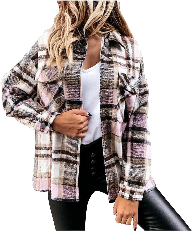 Women's Plaid Jacket Shirt Lapel Button Down Long Sleeve Pockets Shacket Coat Cardigan Winter Loose Outerwear