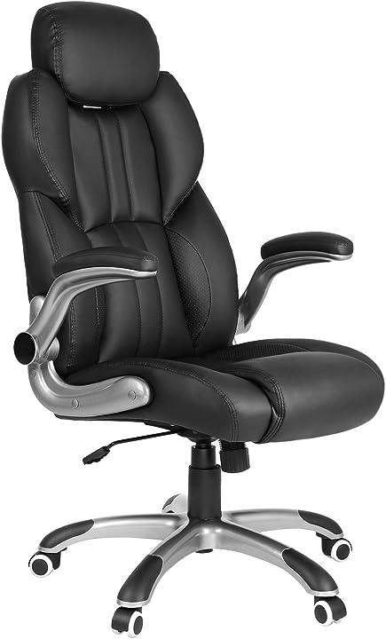 Sedia da ufficio, poltrona girevole ergonomica, con braccioli pieghevoli, base a stella in nylon songmics OBG65BK