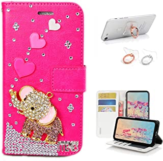 STENES Bling Wallet Case Compatible with Google Pixel 3a XL - Stylish - 3D Handmade Heart Cute Elephant Design Leather Cover with Ring Stand Holder [2 Pack] - Hot Pink