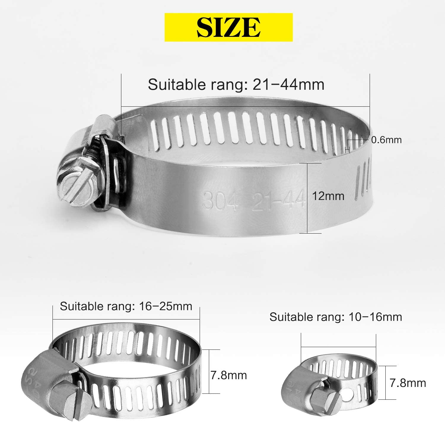 Astarye Hose Clips Adjustable Stainless Steel Hose Clamps Worm Drive Pipes Hose Clamps Clips,10 Pack 21-44 mm