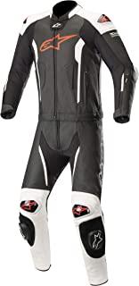 Missile Leather Racing 2-Piece Motorcycle Suit for Tech-Air Race Airbag System (56 EU, Black White Red Fluo)