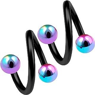 2pcs 16g 3/8 Spiral Cartilage Earring Eyebrow Ear Gauge Tragus Helix Hoop Black Anodized Surgical Steel - Pick Color