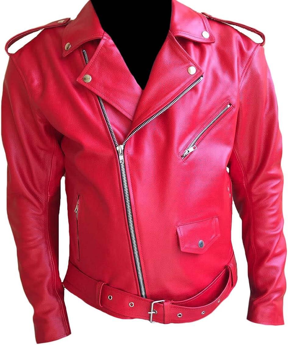 Classyak Men's Fashion Brando Style Real Leather Biker Jacket