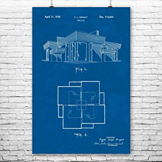 Patent Earth Frank Lloyd Wright House Poster Print, Home Builder, Draftsman Gifts, Architecture Office, Design Student, Modern Art Blueprint (11