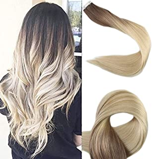 Full Shine 18 Inch Balayage Color #3 and #8 Brwon Fading to #613 Blonde Dark Roots Real Human Hair Extensions Tape Ins Remy Hair 20 Pieces 50 Grams Per Pack