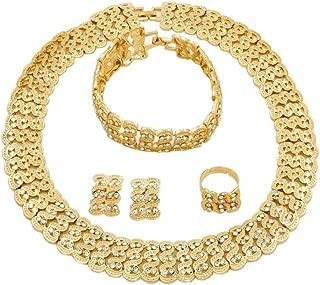 Fashion Crystal Jewelry Set 18 K Gold Plated Jewelry Weddings Dubai Gold Necklace Earrings Set