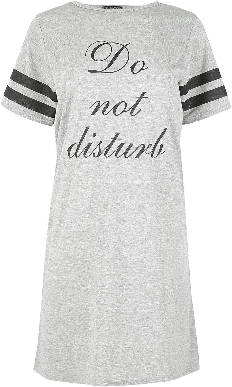 Oops Outlet Women's Do Not Disturb Cap Stripe Sleeves Night Shirt Mini Top Dress