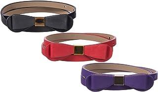 Sunny Belt 女孩 3 包 1.27 cm 宽仿皮腰带,各种颜色和款式可选