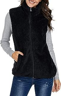 Women Zip Up Faux Fuzzy Vest Fleece Jackets Warm Cardigan Outerwear Coat with Pockets
