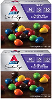 Atkins Endulge Treat Chocolate Peanut Candies | 5 Bags of 1.2 oz Each Per Pack | (2-Packs)