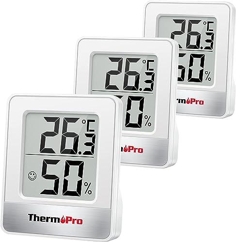 ThermoPro TP49-3 Petit Hygromètre Numérique Thermomètre Intérieur Thermomètre D'ambiance Moniteur de Température et H...