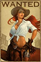 FS Wanted Poster Cowgirl Wild West Pinup - Cartel de Chapa Curvada (20 x 30 cm)