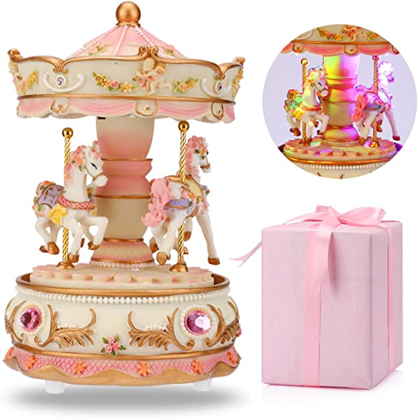 LOVE FOR YOU Carousel Music Box Luxury Color Change LED Light Luminous Rotating 3 Horse Carousel Horse Clockworek Musical Box Best Birthday Gift For Kids Girls Friends Castle In The Sky Pink