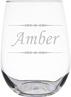 Custom Engraved Stemless Wine Glass, Personalized with Your Text, Large 17 oz White Wine Glass, Great Bridesmaid Gift Glasses - SG04