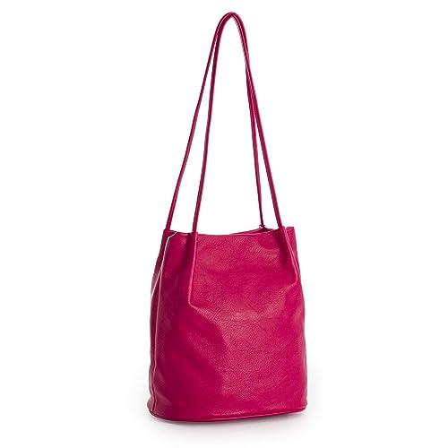 f0451f5ff22d7 Big Handbag Shop Womans Fashion Designer Medium Size Plain Soft Vegan  Leather Hobo Bucket Tote Shoulder