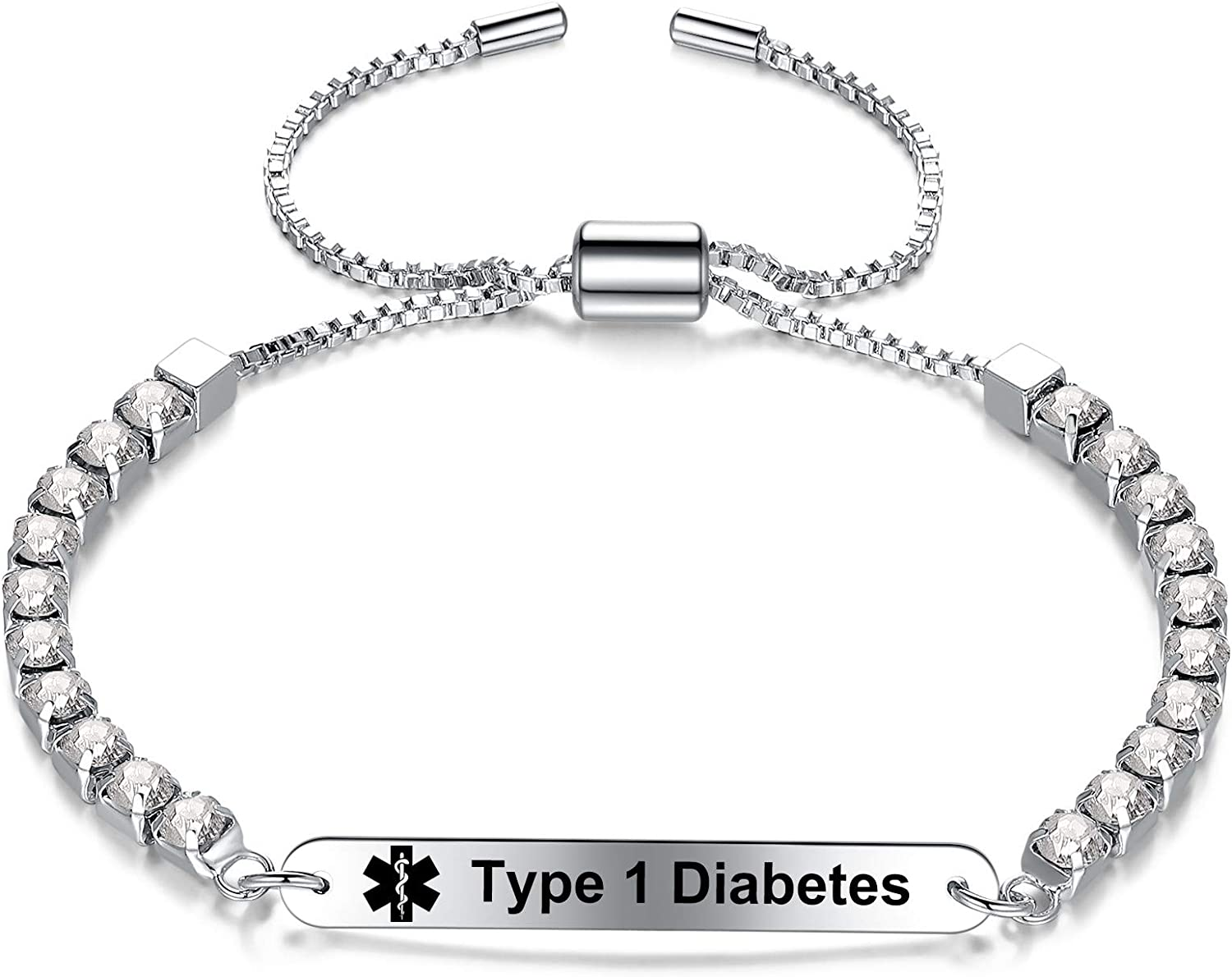 Personalized Engraved Diabetes Now on NEW before selling sale Medical Alert Bracelets Wo ID for