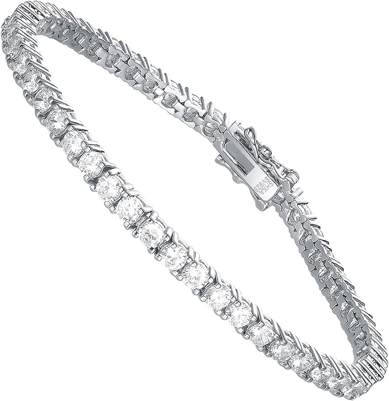SHKA Super-cheap 925 Sterling Silver Round Tennis Cut free 18K Women†Bracelet