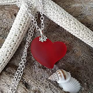 Handmade in Hawaii, Ruby Red Heart sea glass necklace,