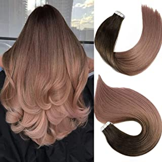 Tape In Hair Extensions Human Hair Balayage Ombre Hair 20pcs/50g Per Set Dark Brown Fading to Silver Gray Double Sided Tape Skin Weft Remy Silk Straight Hair Glue in Extensions Human Hair 18 Inch