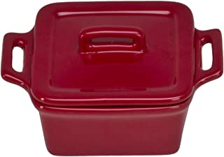 Omniware Square Mini Bakers with Lids, Set of 4, Red