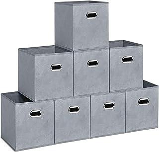AZEKIL 折り畳み 収納ボックス 8個セット キューブボックス 金属取っ手 寝室 引き出し クローゼット おもちゃ 事務室 ギフト くすり 学生 防水防湿 高耐久性 収納力抜群 収納ボックスセット (グレー-04)