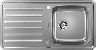 hansgrohe Küchenspüle mit Abtropffläche und vorgebohrten Hahnlöchern Einbauspüle, 400 x 400 mm edelstahl, S4113-F400