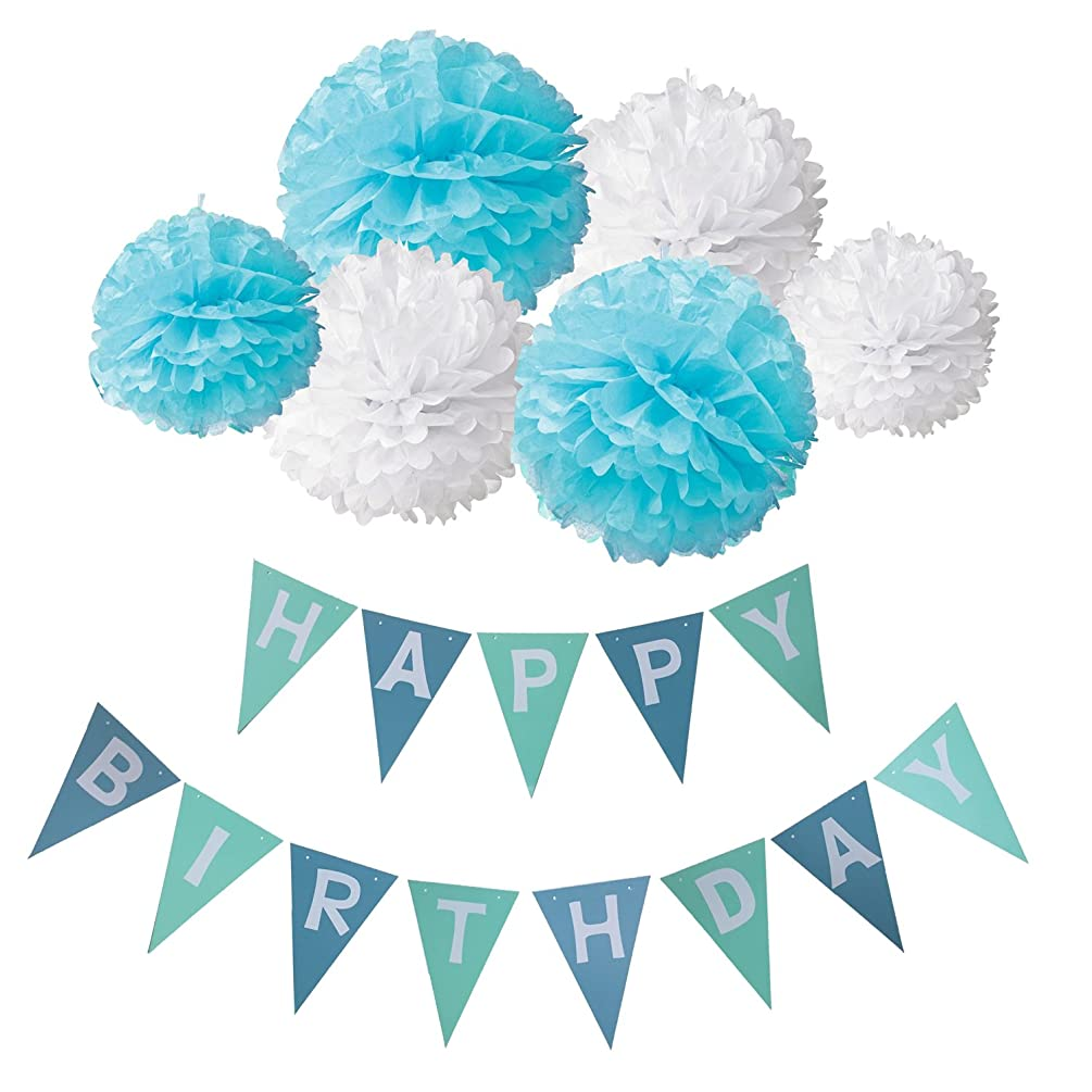 Wartoon Happy Birthday Banner Bunting Kit, Paper Pom Poms flowers Ball with Hanging Party Decorations Banner flags for Birthday Party Decorations (Blue1)