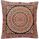 Kashmir Handicrafts Schwarz Indische Seide Deko Kissenbezüge 40 cm x 40 cm, Extravaganten Design...