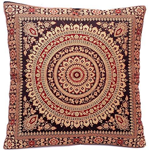 Kashmir Handicrafts Schwarz Indische Seide Deko Kissenbezüge 40 cm x 40 cm, Extravaganten Design für Sofa & Bett Dekokissen, Kissenhülle aus Indien. ***Angebot nur für Kurze Zeit gültig***
