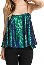 ASMAX HaoDuoYi Womens Sparkly Sequin Spaghetti Strap Crop Top