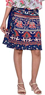 Women's Cotton Printed Knee Length Regular Wrap Around Skirt (W20NT_0006)
