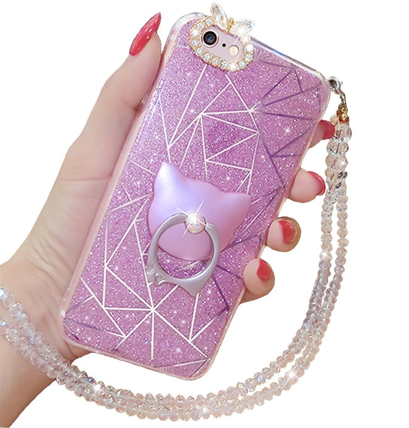 ジョセフバンクスワット口述Apple iPhone 6 6S ケース,豪華 キラキラ水晶混合 保険の軟ゴム かわいい環棚 化粧ケース 女性水晶ネクタイは縄を掛け シリカゲル柔軟 視覚美感  (iPhone 6 / 6S, パープル)