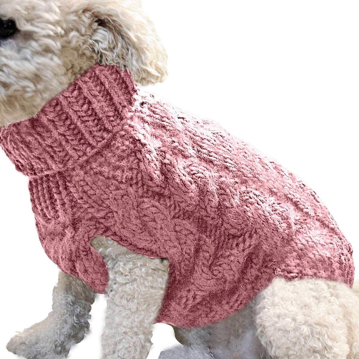 Homeriy Pet Dog Knitted Braid Turtleneck Turtlenec Max 71% OFF Dedication Sweater Plait