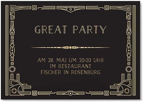 greetinks 60 x Einladungskarten für Geburtstag 'Gatsby' in Creme   Personalisierte Einladungen zum selbst gestalten   60 Stück Geburtstagseinladungen - Einladungen Party & JugendWeiße