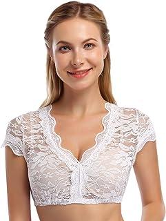 Clearlove Damen Dirndlbluse Spitze Trachtenbluse für OktoberfestVerpackung MEHRWEG