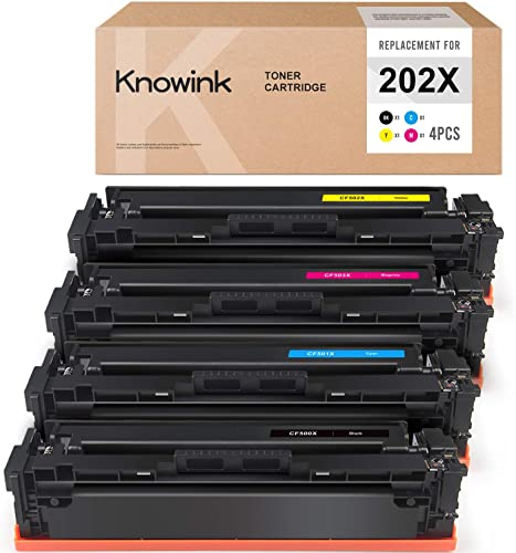 new arrival KNOWINK wholesale Compatible Toner Cartridge Replacement for HP 202X CF500X 202A for Color Laserjet Pro MFP M281fdw M254dw M281fdn M254nw discount M280nw - CF500X CF501X CF502X CF503X Toner, 4 Pack online