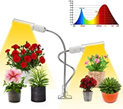 LED Grow Light for Indoor Plant, 50W Full Spectrum Grow Lamp, Dual Head Gooseneck Plant Light with Replaceable Bulb, Double Switch, Professional for Seedling Growing Blooming Fruiting
