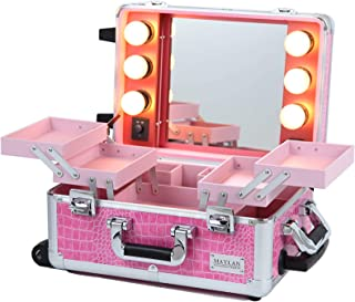 MAYLAN Makeup Cosmetic Train Case With Mirror And Lights, Mini Size Pink