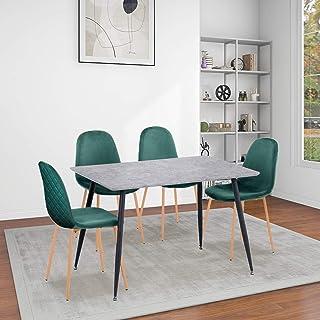 GOLDFAN Table à Manger avec 4 Chaises Rectangulaire Table à Manger en Bois Table de Cuisine Moderne Chaise de Salle à Mang...