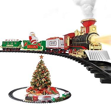 Hot Bee Juego de tren de juguete de Navidad, juguete de tren de vapor eléctrico con humo, luces y sonidos de pistas ferroviarias kits para regalos de debajo del árbol para niños y niños de 3 4 5 6 7 8 años