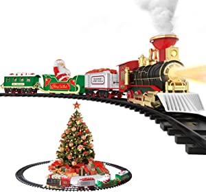 Hot Bee Electric Toy Train Set, Battery-Powered Train Toys Set w/ Smoke, Realistic Lights & Sounds Railway 4 Cars and Tracks Kits, Gifts for 3 4 5 6 7 8+ Year Old Boys Girls