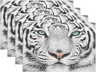 Janhe Sets de table résistants à la chaleur et antidérapants Motif tigre et neige 30,5 x 45,7 cm, Polyester, Image 522, 12...