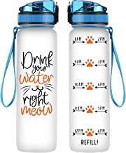 Coolife 32oz 1 Liter Motivational Tracking Water Bottle with Hourly Time Marker - Drink Your Water Right Meow - Funny Birthday Gifts for Women, Cat Lovers, Cat Moms, Best Friend, Coworkers