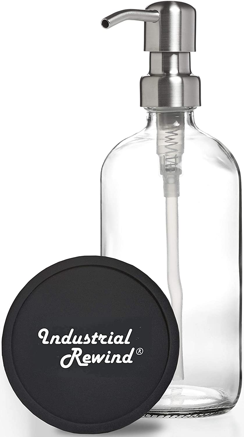 Industrial Rewind Clear 8oz Glass New products Charlotte Mall world's highest quality popular with Dispenser Stainless Soap