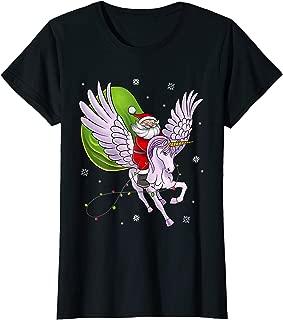 Santa Riding Unicorn Cute Girls and Women Christmas Gift T-Shirt