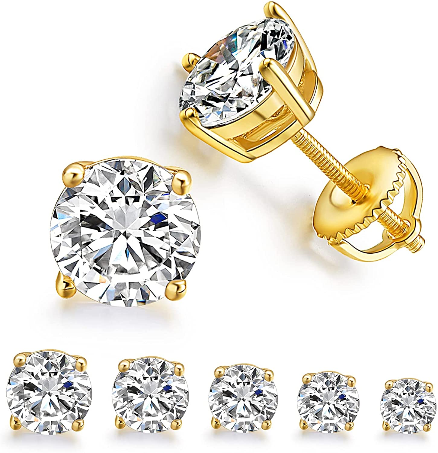 5 Pairs 18K Yellow Gold Plated Round Cut Clear Cubic Zirconia Stud Earring Pack with Screw Back Earring Set