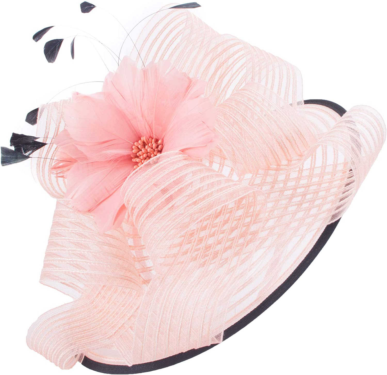 Lawliet Women Pink Kentucky Derby Fascinator Wedding Church Racing Hat Headpiece T429