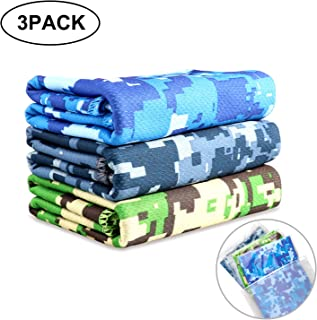 Biange Microfiber Sports & Cooling Towel - Fast Dry, Chill, Lightweight, Absorbent, Compact, Yoga Fitness Camping Gym Towels (Camouflage) …