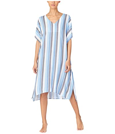 Donna Karan Viscose Sleepwear Plain Weave Caftan (White Stripe) Women